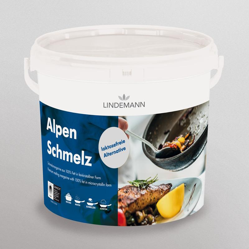 Mockup des Alpen-Schmelz-Etikettes