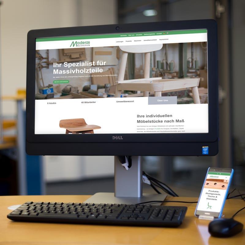 Website von Maderas Holztechnik
