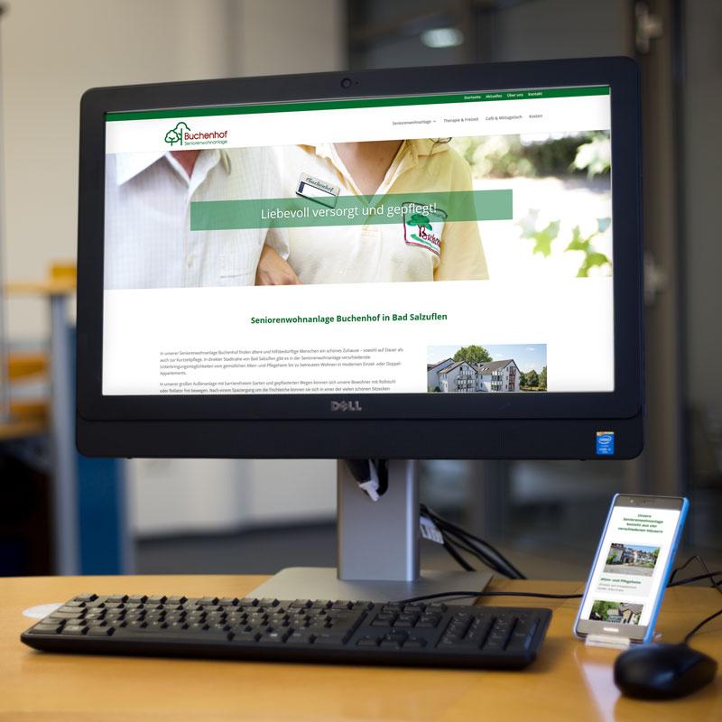 Website von der Seniorenwohnanlage Buchenhof