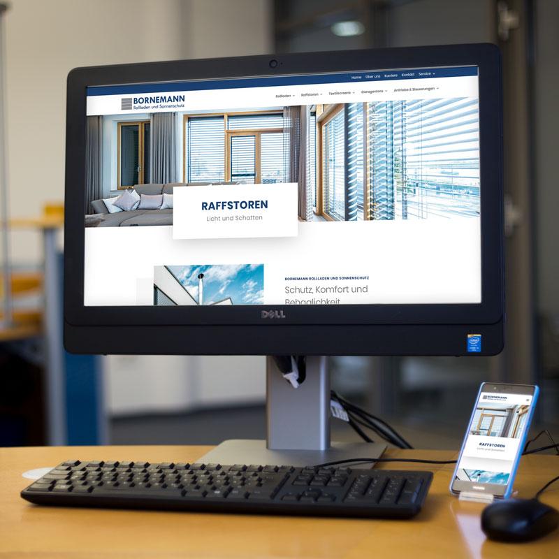 Mockup der Unternehmenswebsite für die Bornemann Rollladen und Sonnenschutz GmbH & Co. KG
