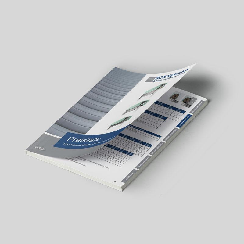 Mockup der Preisliste für ein Aufsatzrollladensystem der Bornemann Rollladen und Sonnenschutz GmbH & Co. KG